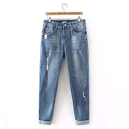 GZYD Damen Jeans Fest Hose mit hoher Taille Slim Fit Schlank Abgenutzt Betrübt Hose Stretchjeans für Damen Blau,XXL -
