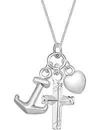 Elli Halskette Kreuz Herz Anker Anhängerset 925 Sterling Silber 45cm