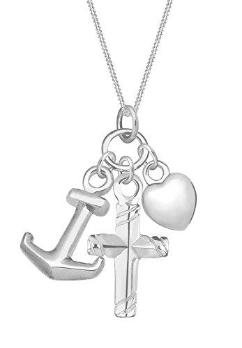 Elli Damen Schmuck Halskette Kette mit Anhänger Kreuz Herz Anker Glaube Religion Anhängerset Silber 925 Länge 45 cm