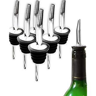 HomeTools.eu - 6X Flaschen Ausgießer | Wein-Flaschen, Schnaps-Flaschen, Spirituosen, Getränke | Haus-Bar, Restaurant, Gastronomie, Diskothek, Küche | Edelstahl, Gummi-Dichtung | 6er Bar-Set