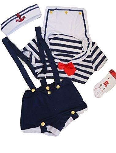 Militär Kostüm Billig - Fancy Me Damen 4 Stück Sexy Matrose Hotpants mit Handschuhen & Hut Militär Hen Party Kostüm Kleid Outfit - Blau/weiß, 8-10