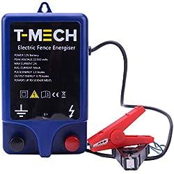 Electrificateur de Clôture Electrique 12V T-Mech Imperméable 1.0J 10KM Alimenté par Batterie Kit de Fixation pour Volailles, Bovins, Moutons, Chevaux