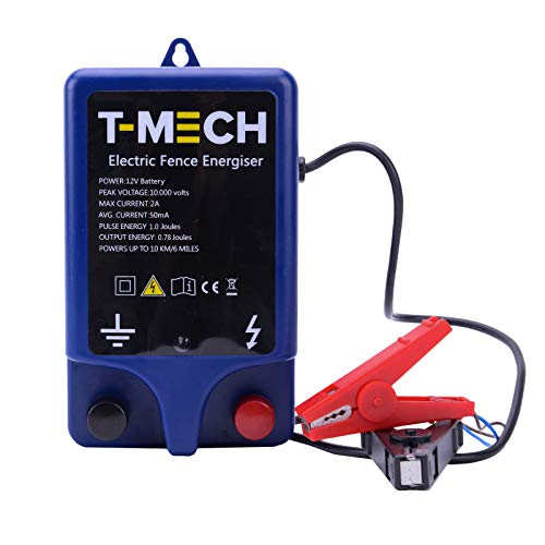 T-Mech Electric 12V Fence Energiser Water Resistant 1.0J 10KM Battery Powered Fencer, Earth Stake & Cables