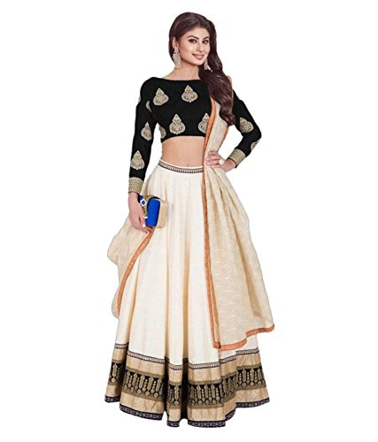 lehenga Choli (Om Fashion Women\'s Banglori Silk Black Free Size Lehenga Chaniya Choli)