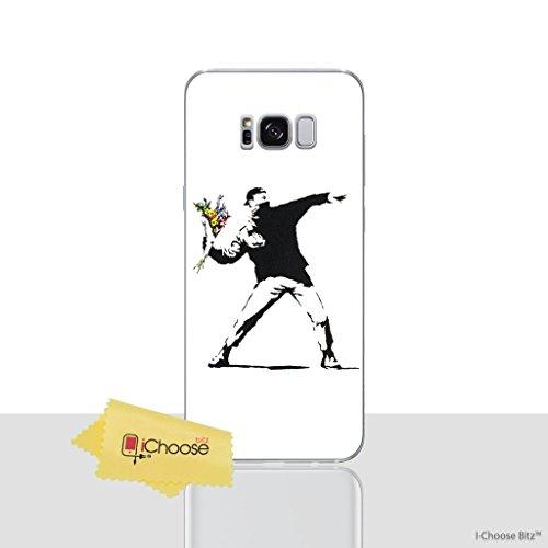 Banksy Telefon Hülle/Case für Samsung Galaxy S8 (G950) mit Displayschutzfolie / Silikon Weiches Gel/TPU / iCHOOSE / Blumen Banksy Werfen Blumen
