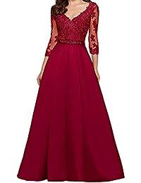 1af8759c416 LuckyShe Damen A-Linie Spitze Abendkleider Ballkleid Hochzeitsgäste mit  Ärmeln Lang