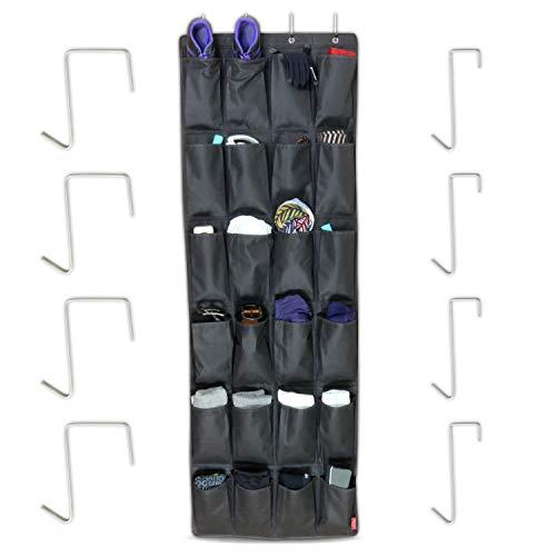 MDCASA Türorganizer mit Türhaken-Set - Schuhaufbewahrung hängend - Ordnungssystem - Bad Hängeorganizer - Schuhorganizer - 158x54cm, schwarz