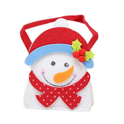 Christmas Felt Cloth Sweets Bag Portable Cartoon Handbags Gift Bags Xmas Decor(Snowman)