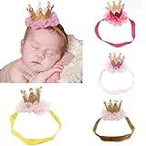 Yistu 4 PCS Bebé niña corona diadema niños accesorios para el cabello