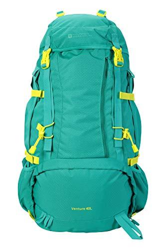 Mountain Warehouse Venture 40-l-Rucksack - Kompressionsriemen, hydratationskompatibel, Regenschutzhülle, Taschen, Damen/Herren - für Reisen, Festivals Grün Frauenpassform
