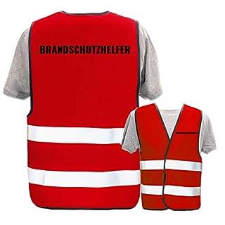Bedruckte Warnwesten mit ISO-Leuchtstreifen * Standard- oder Reflex-Druck * Erste Hilfe und Brandschutz, Begriff:Brandschutzhelfer, Farbe + Größe:Rot (M/L)