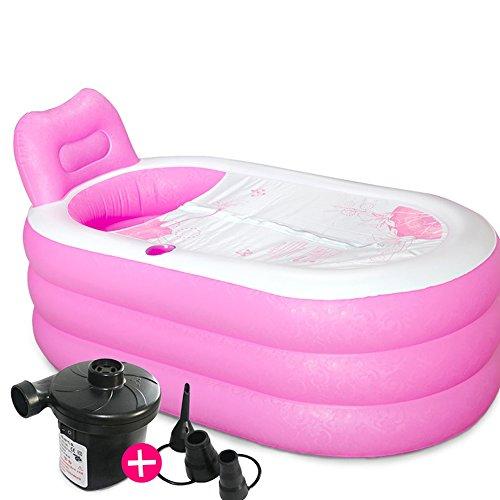 Verdicken Sie faltbare aufblasbare Badewanne - bewegliche Umweltschutz PVC-erwachsene Familien-aufblasbare Wanne-bequeme Haushalts-Massage Badekurort-aufblasbares Bad-Fass, Blau, Rosa ( Color : Pink ) (Ente Family Kostüm)