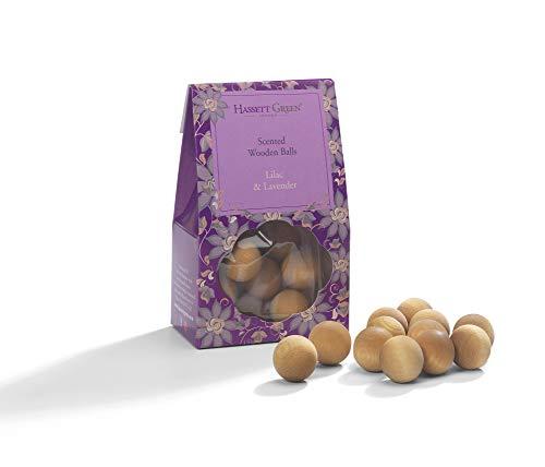Hassett Green London Duftkugeln aus Holz - Lila & Lavendel - Alternative zu Potpourri Duftzerstäbchen - 12 Stück - Lavendel Schublade Liner
