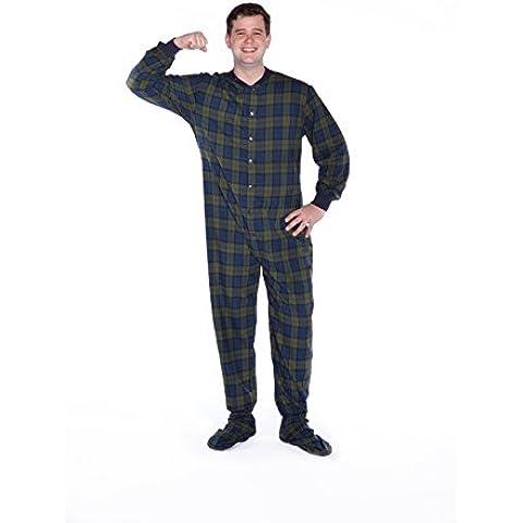 Pies de azul marino Big pijama/verde (biackwatch) para mayores de franela pijama algodón para pies (104)