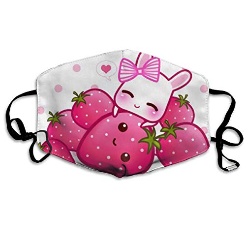 HUSDFS Mouth Maske Cute Pink Bunny with Kawaii Strawberries Anti Dust Face Mouth Cover Mask Respirator Cotton Protective Face Safety Warm Windproof Mask