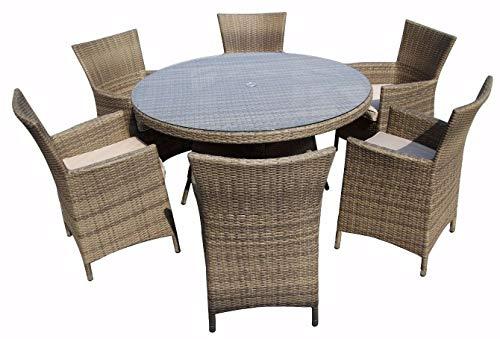 Nwn Table Et Chaise De Luxe Terrasse Mobilier D'extérieur 6 Couverts En Rotin Rond (Couleur : B)