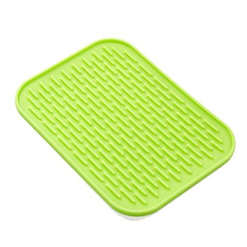 Hifuture Silikon-Topfuntersetzer, quadratisch, geriffelt, hitzebeständig, rutschfest, antibakteriell, Abtropfmatte, multifunktional, für die Küche, wasserfest grün - Pfanne, Gerippte