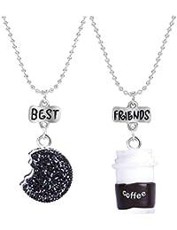 4217d2d340b5 BEAUTYCHOU Collar para niños Joyas Tridimensional Taza de café Galletas  Buen Amigo Colgante Collar