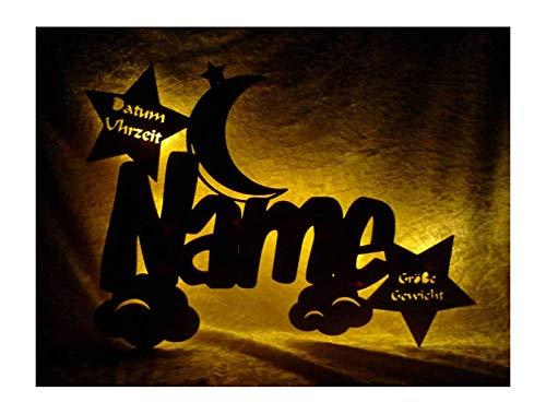 """Schlummerlicht24 Led Holz Nachtlicht \""""Wolken-Mond\"""" Name-n und Datum individuell personalisiert, Taufgeschenk-e Geschenk-e zur Geburt Taufe Kommunion Paten-Kind Mädchen Junge-n (Mit Zugschalter)"""