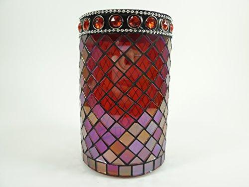 Windlicht-Glas Mosaik handgearbeitet Teelichthalter Kerzenhalter Teelicht-Glas Vase Dekovase Tischdekoration (Rot-rote Steine) -