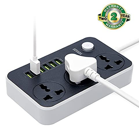 Power Strip Extension Lead, 3 gang Outlet Socket with 6 Smart USB Charging Ports, 2m Extension Cord & Switch, Overload Surge Protection for Home Appliences Office