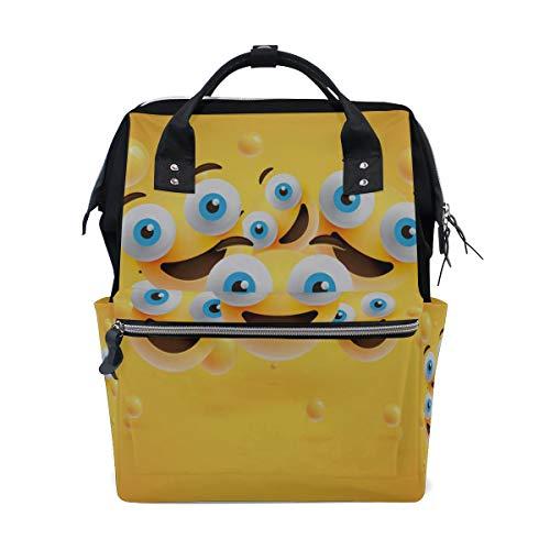 Smiley Faces Emotion Gesichtsausdruck Emoji Große Kapazität Windel Taschen Mummy Rucksack Multi Funktionen Wickeltasche Tasche Tote Handtasche für Kinder Baby Care Travel Daily Women