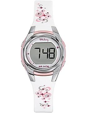 Tekday Damen-Armbanduhr Digital Kunststoff weiß 653608
