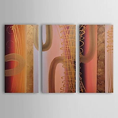 OFLADYH ® lona petróleo pintura tubos abstractos modernos de oro conjunto de 3 pintado a mano con el marco estirado