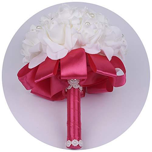 Red Kingpin Eine Perlen Perlen PE Rose Brautjungfer Hochzeit Schaum Blumen Rose Brautstrauß Band gefälschte Hochzeit Bouquet de Noiva Mariage, hot pink P -