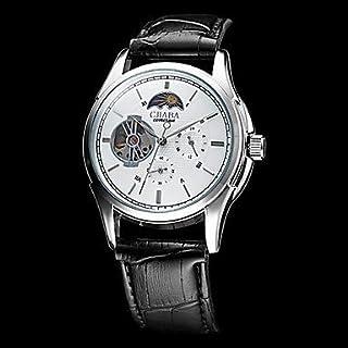 Fenkoo Cjiaba Männer automatische mechanische weißes Zifferblatt Lederband Armbanduhr (farbig sortiert)