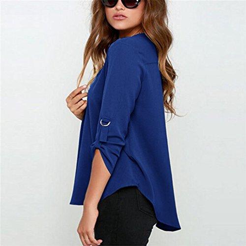 Yuncai Donna Camicia Blusa Chiffon Manica Lunga Casual Elegante V-collo Camicetta Royal blu