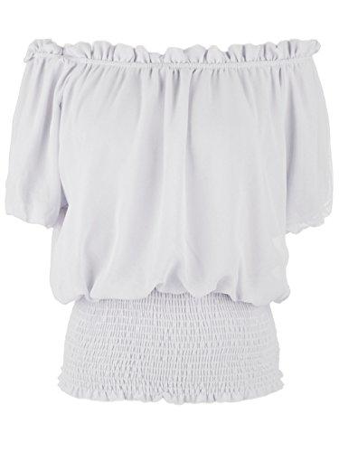 Anna-Kaci Rüschen Puffy Kurzarm Schulterfrei Elastische Mittel Smocked Taille Peasant Boho Bluse Chiffon Shirt