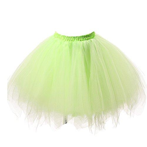 Honeystore Damen's Tutu Unterkleid Rock Abschlussball Abend Gelegenheit Zubehör Gelbgrün