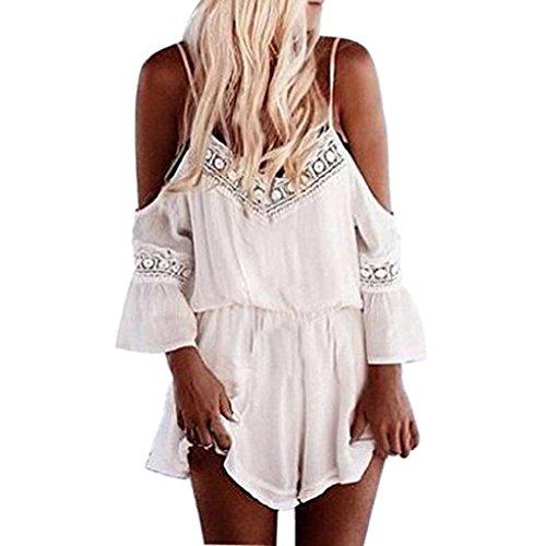 Cotton Mutterschaft Hosen (Amlaiworld Damen Jumpsuits Halfter häkeln Playsuits Sommerstrand Overalls Strampler (M, Weiß))