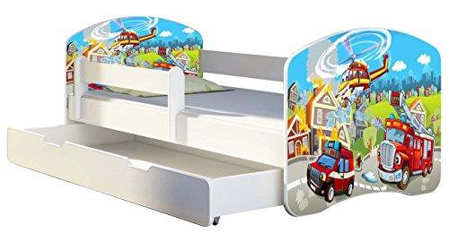 Kinderbett Jugendbett mit einer Schublade und Matratze Weiß ACMA II 140 160 180 40 Design (160x80 cm + Bettkasten, 36 Feuerwehr) -