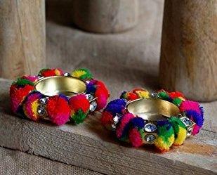 Store Indya, Colourful tradizionale Festive / Holder Tea-lume di candela votiva di Diwali - Lotto di 2