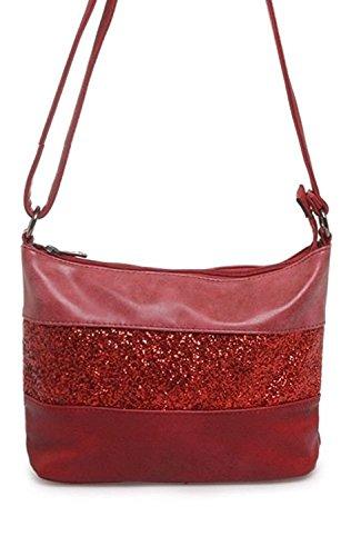 Gallantry -Sac bandoulière / sac porté épaule / sac paillettes femme / Sac Strass (Rouge)