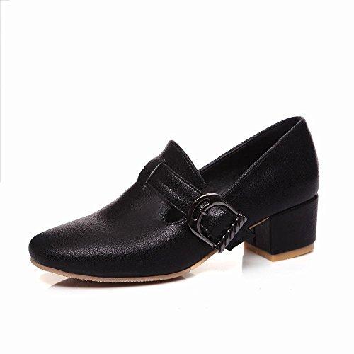 Mee Shoes Damen modern chunky heels vierkant Slipper Schwarz