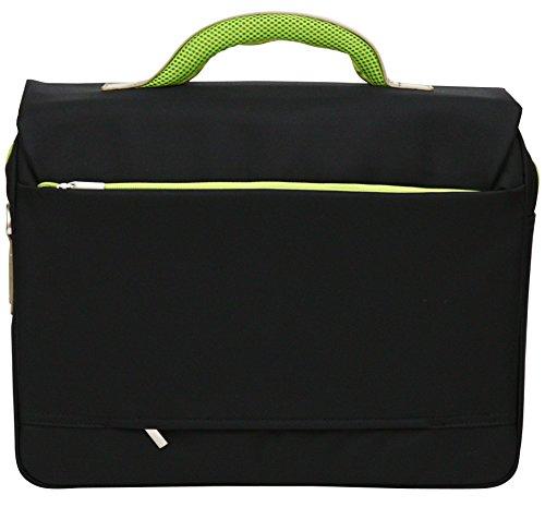 """Aktentasche - Weiche Schultertasche für die Arbeit - Geeignet für Laptops bis 15,6"""" - Orangefarbene Details Grüne Details"""