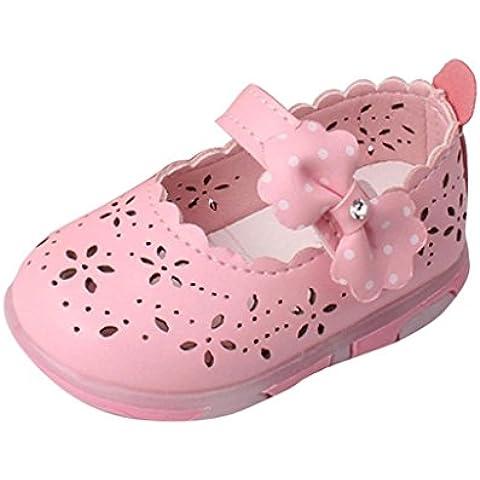 Malloom Toddler Bebe niñas Hollow bowknot sandalias zapatos de suela suave princesa de la luz