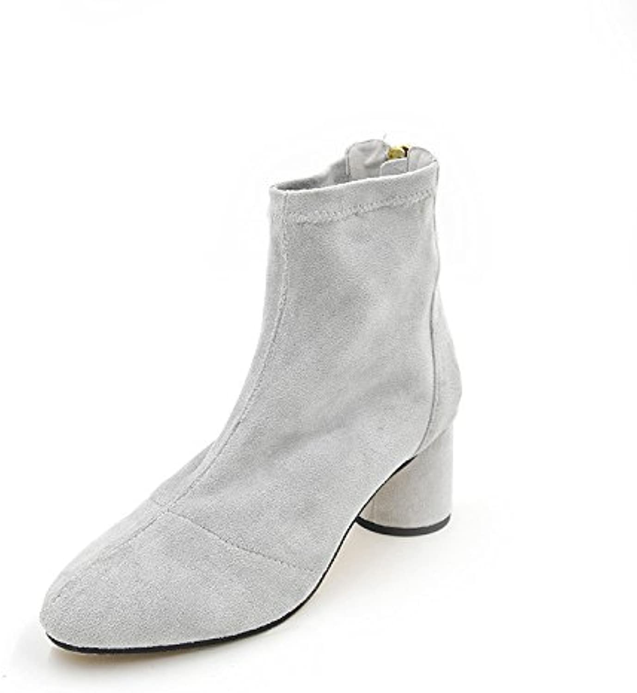 Con gruesas botas hembra _ cabeza redonda zapata elástica estilo minimalista botas de lana Stretch, desgaste de...