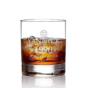 AMAVEL Whiskyglas mit Gravur, Elegant, Whiskygenießer, Personalisiert mit Name und Jahreszahl, Tumbler Whiskeyglas