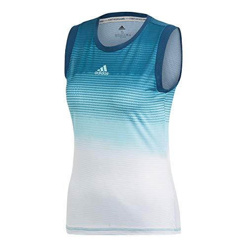 adidas Damen Parley Tanktop, Blue Spirit/White, M - Bekleidung Adidas Tennis Frauen