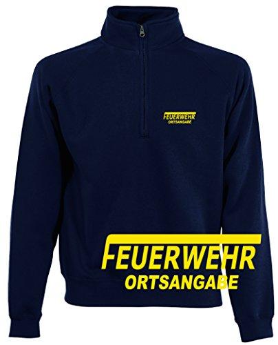 feuerwehr sweatshirt Shirt-ideen.com Feuerwehr Zip Neck Sweat, Navy Bedruckt mit Neongelb oder reflexsilber (Large, Neongelb)