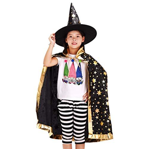 Kostüm Glitter Hexe - chenpaif Unisex Kinder Bronzing Glitter Star Print Zauberer Hexe Kostüm Halloween Mantel mit Spitz Hut Kinder Cosplay Cape Party Requisiten Schwarz