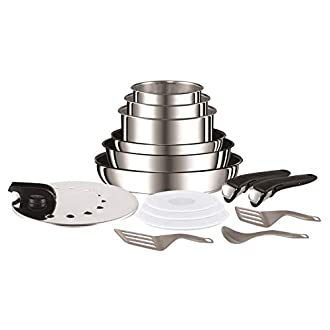 Tefal L94096Ingenio Préférence Stainless Steel High Quality Non-Stick Pan/Pot Starter Set, 15Pieces