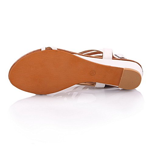 VogueZone009 Donna Fibbia Punta Aperta Finta Pelle Scamosciata Luccichio Heeled-Sandals Bianco