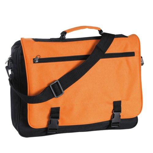 Messenger Bag fÙr Schule, Hochschule und Arbeit - Schultertasche Meeting Schwarz & Orange