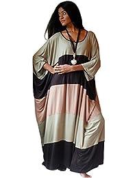 LOTUSTRADERS Damen Kaftan Farbenblock Kleid