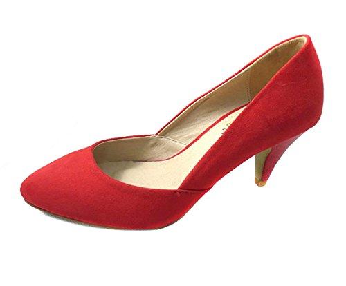 Womens Ladies Suede zapatos de mid de gatitos y tacón bajo Mary Jane Corte fiesta formal boda Pointed Toe Negro Rojo Zapatos Tamaño 3-7, color rojo, talla 36.5